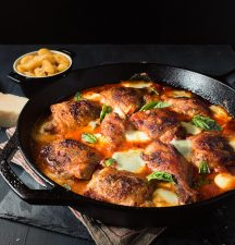Skillet chicken with mozzarella and tomato will become a family favourite.