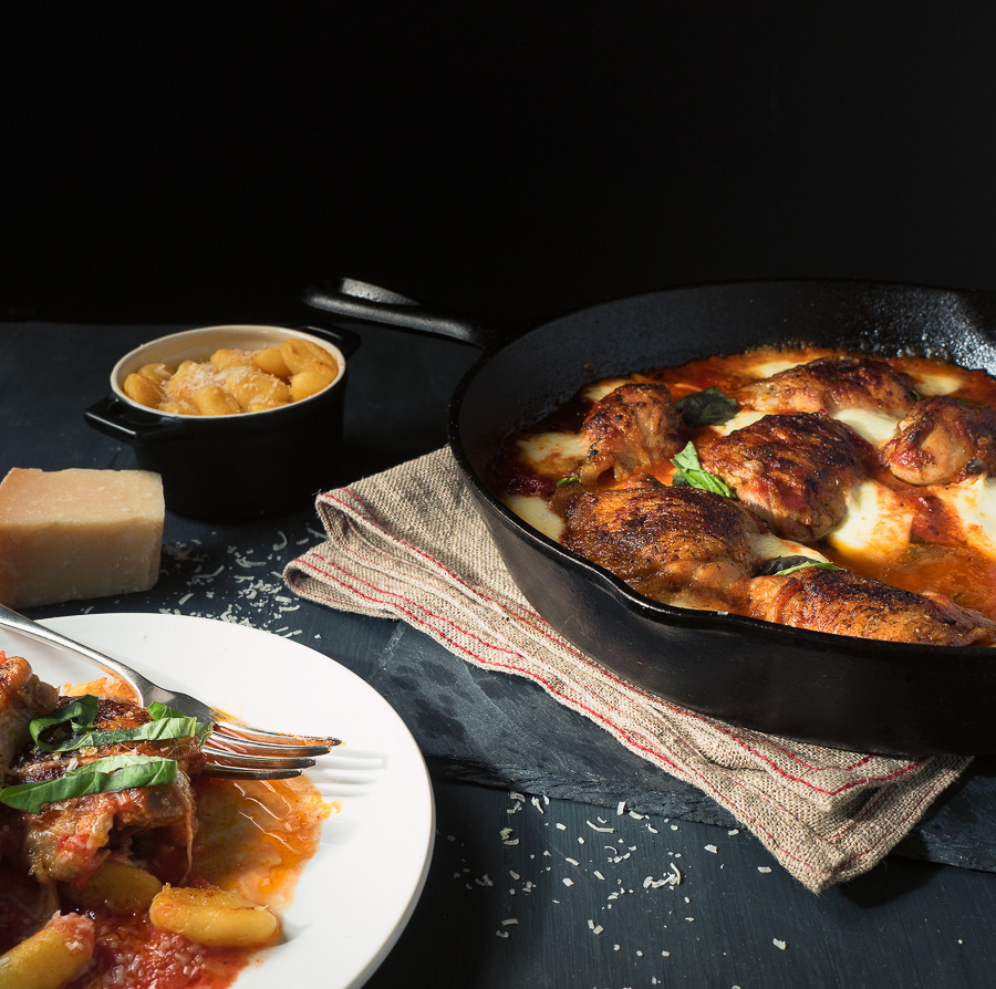 Skillet chicken with mozzarella and tomato will become a family favourite.