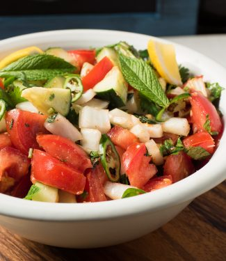 Kachumber is a great Indian tomato, cucumber and onion salad.