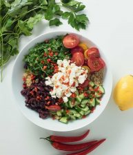 Mediterranean quinoa salad explodes with big flavours of feta, olives, lemon and tomatoes.