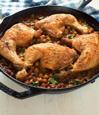 Moroccan chicken and chickpeas is a delicious, one skillet meal that comes together in an hour.