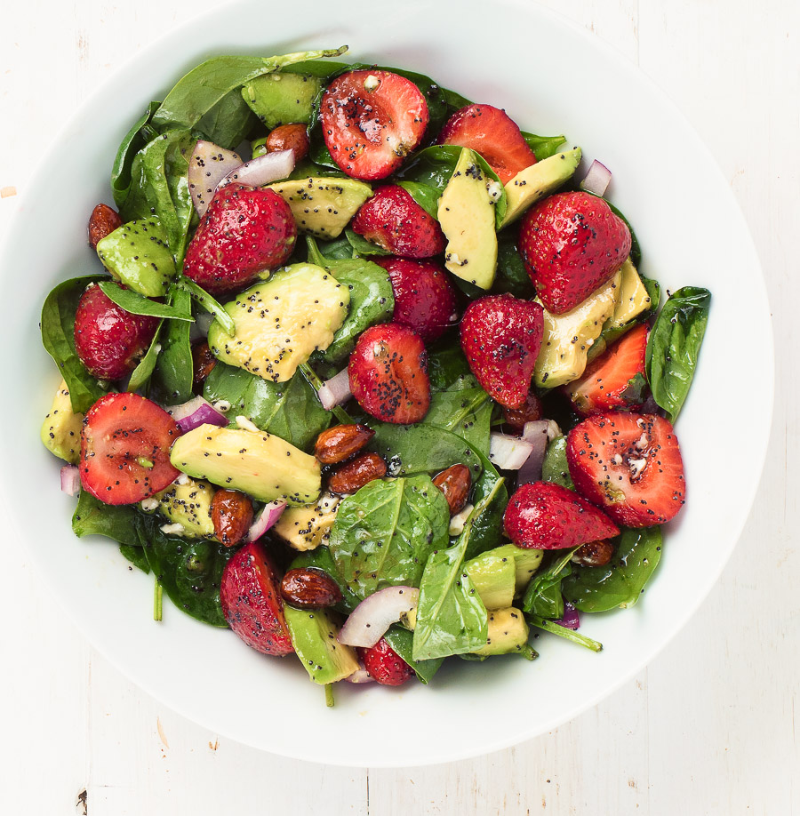 spinach salad with strawberries, avocado and poppyseed dressing is the perfect salad when berries are at their peak.
