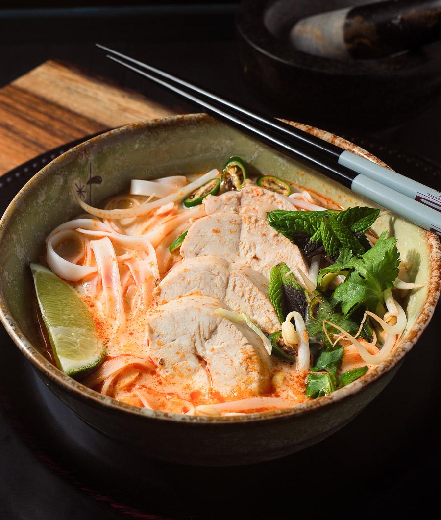 When you crave a delicious asian noodle soup Thai curry noodle soup delivers.