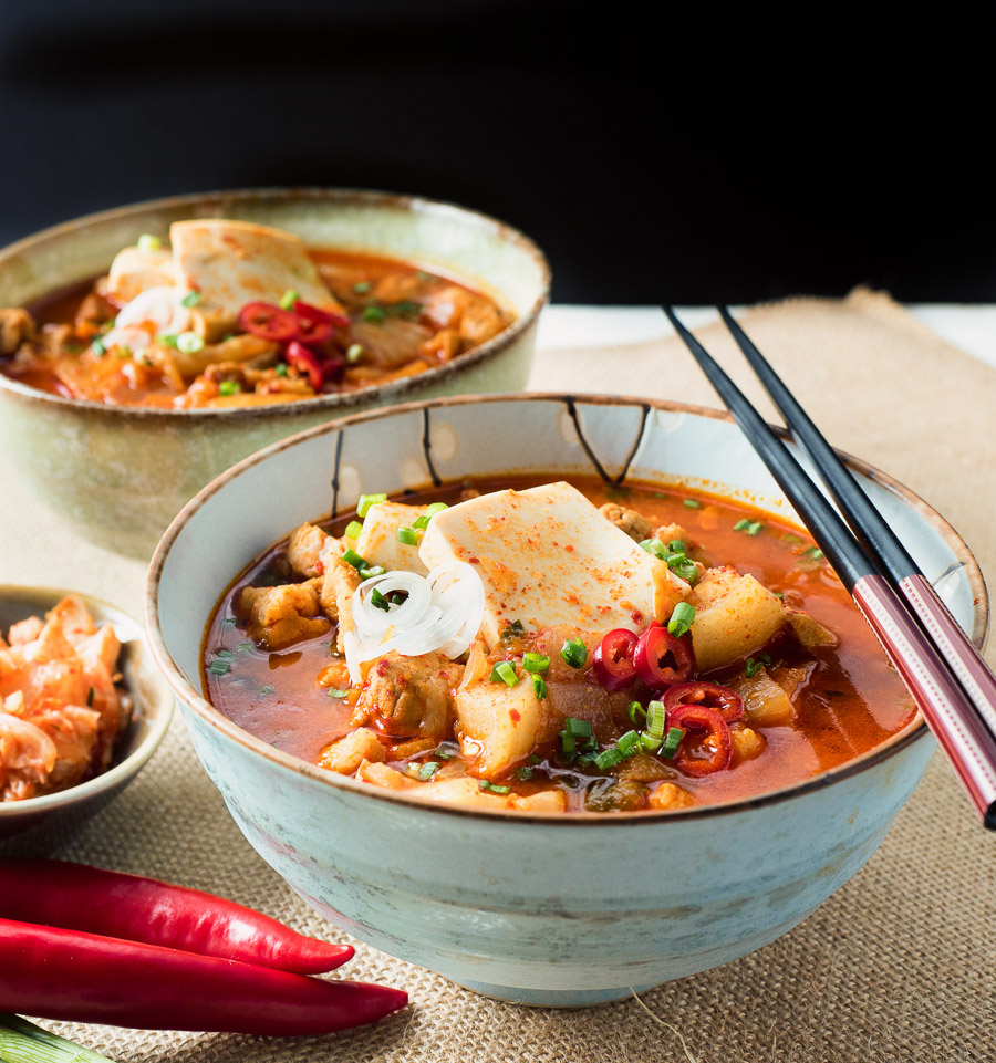 Kimchi jjigae - Korean pork stew is a bowl full of spicy, brothy pork goodness.
