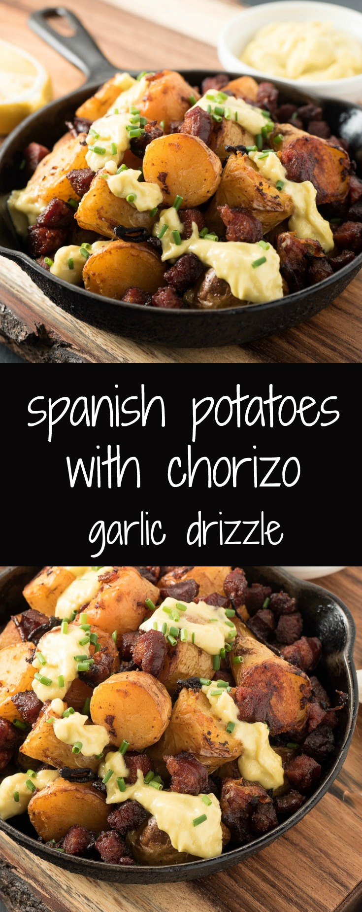 Chorizo potatoes with Spanish garlic sauce are tapas times ten.