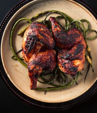 Garlic ginger grilled chicken bursts with Japanese flavours but is adapted to western grilling techniques.