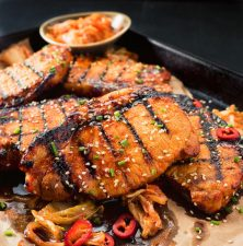 Gochujang is the secret ingredient in these Korean style pork chops.