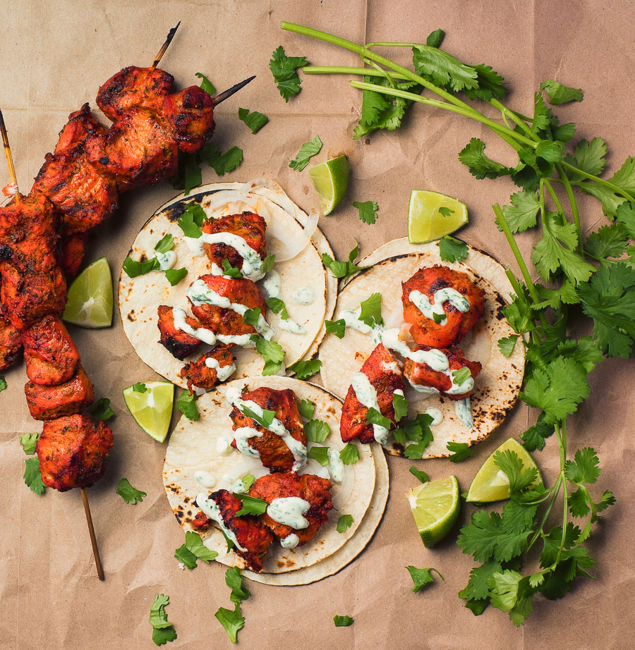 Put an Indian twist on your tacos with tandoori chicken.