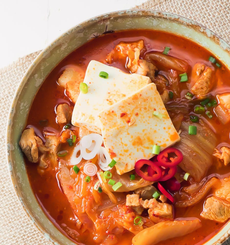 kimchi jjigae with tofu and pork from above.