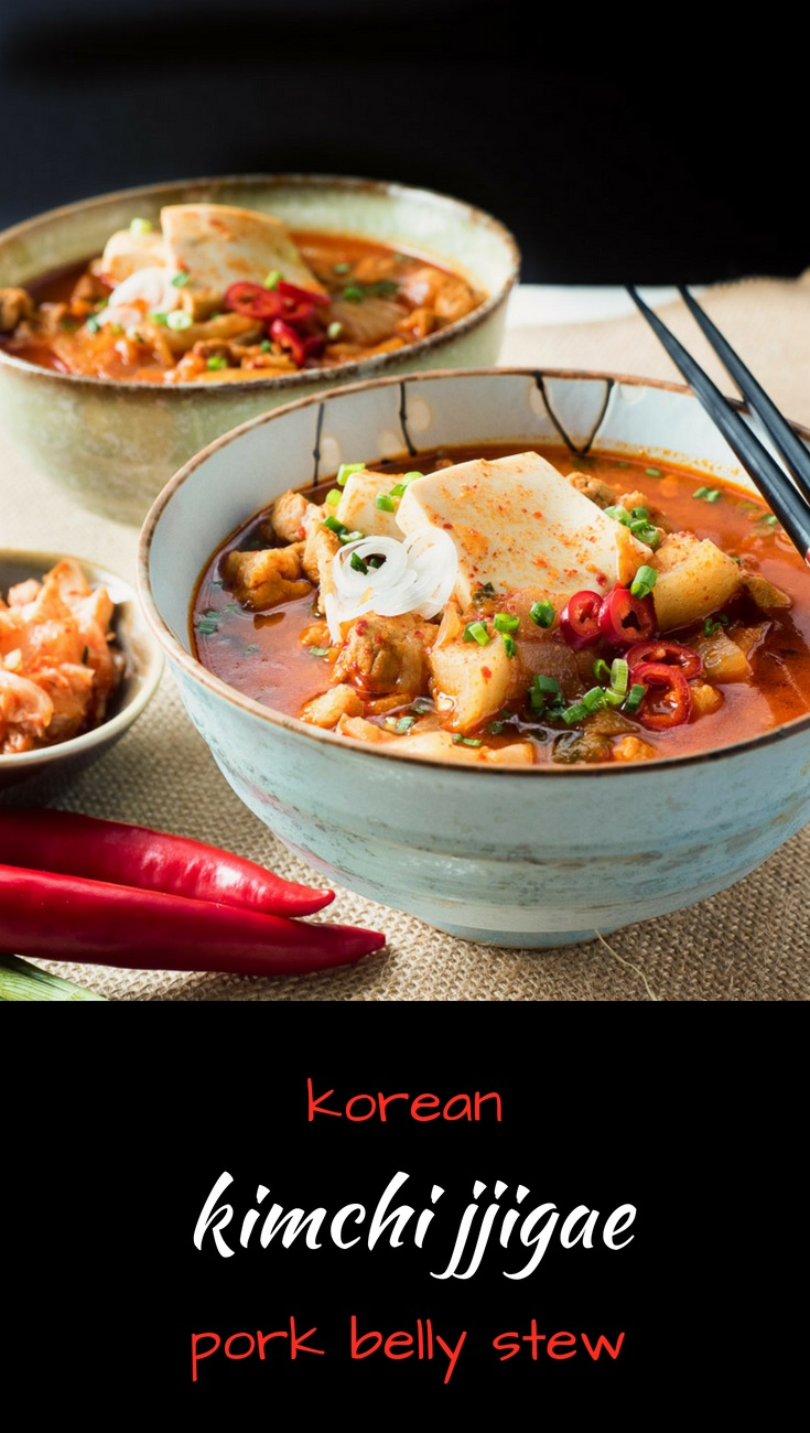 Kimchi jjigae - korean pork stew is a bowl full of spicy, brothy pork goodness.