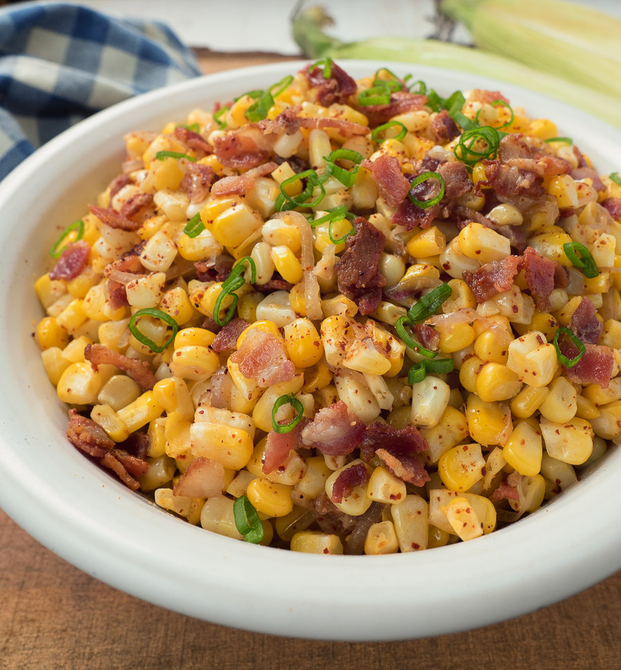 Ridiculously simple, the warm corn bacon salad is sure to be a hit.