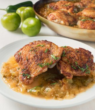 Chicken with tomatillo sauce is all about big, bold, straightforward flavours.