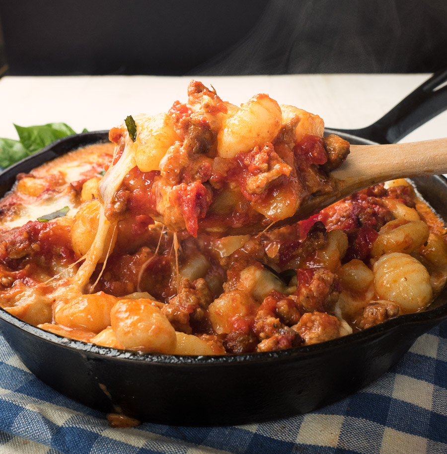 Gnocchi with sausage tomato sauce and fresh mozzarella. Just really, really good.