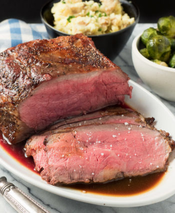 perfect roast beef with demi-glace sauce