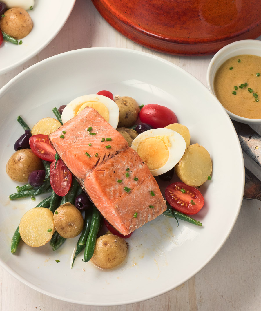 Salmon salad nicoise makes a great lunch or light dinner. And it's healthy!