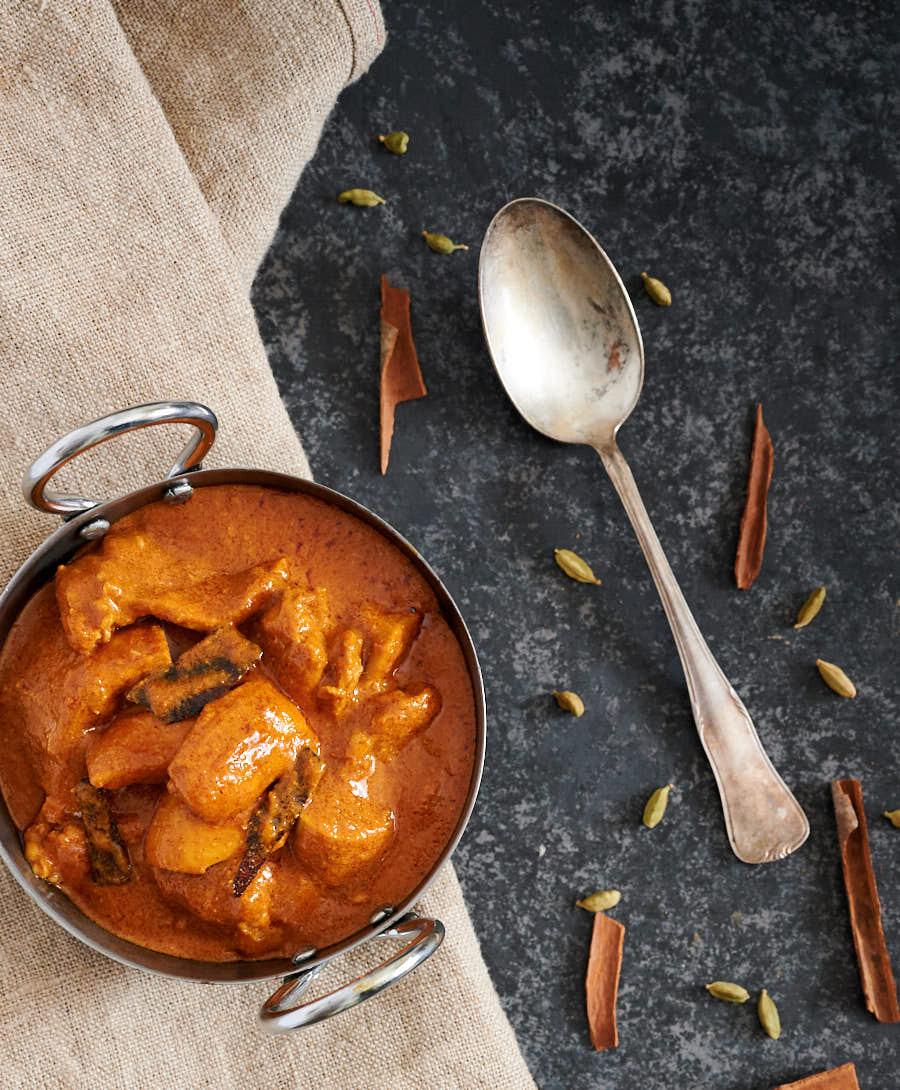 Shahi chicken korma table scene from above.