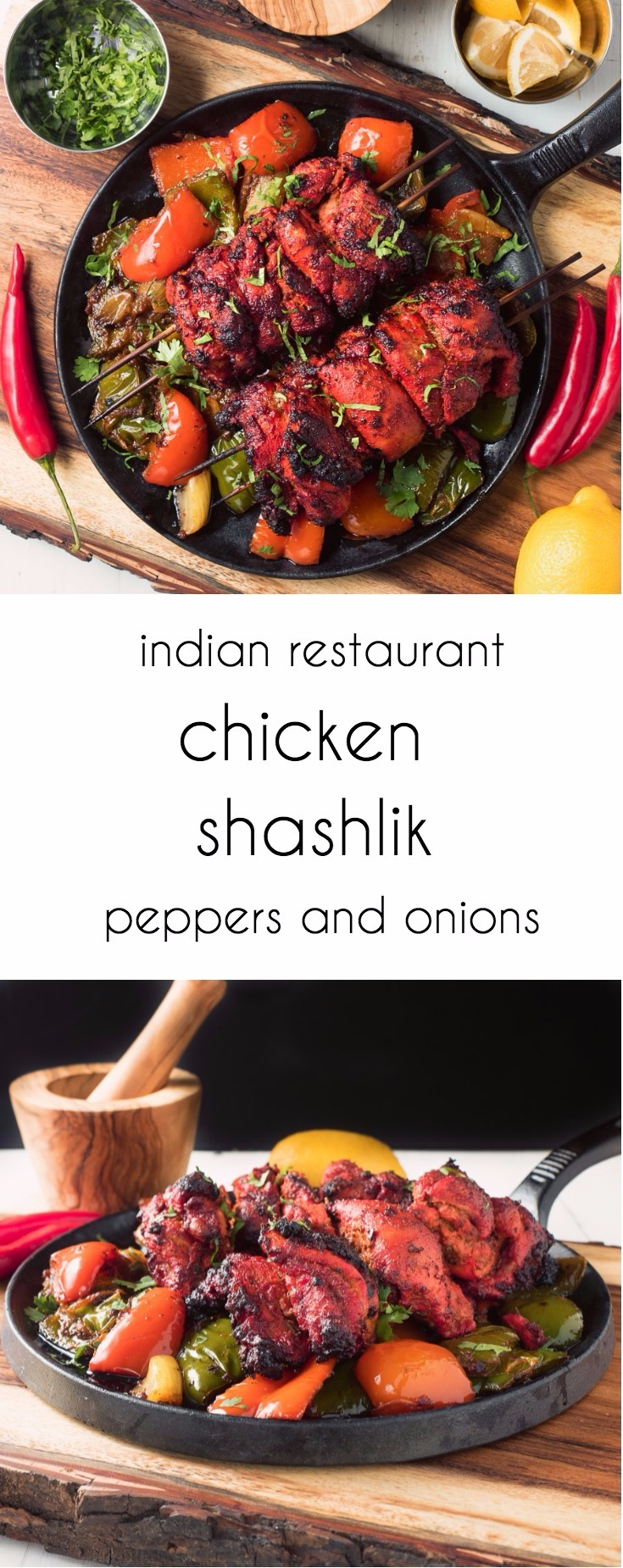 Restaurant style chicken shashlik explodes with Indian flavours.