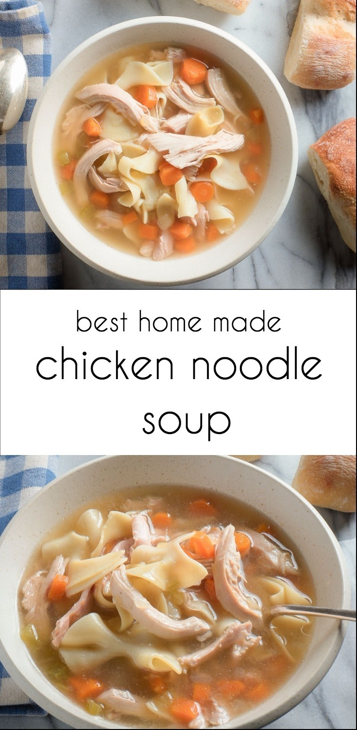 Home made chicken noodle soup from scratch is serious comfort food.