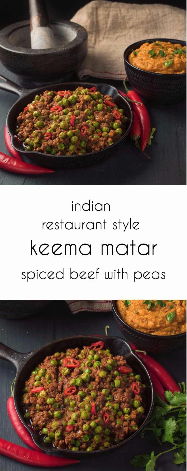 Indian restaurant keema matar is a delicious dry pea and lamb or beef curry.