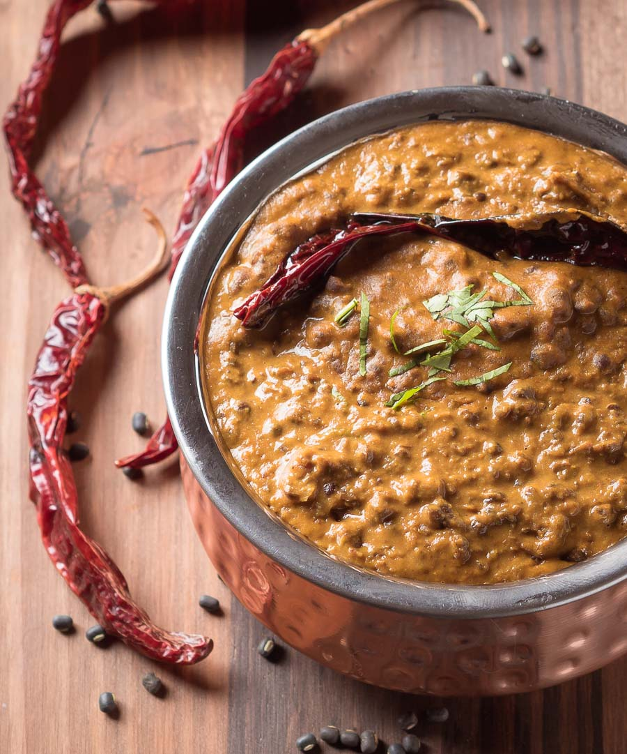 Close-up of bowl of dal makhani.