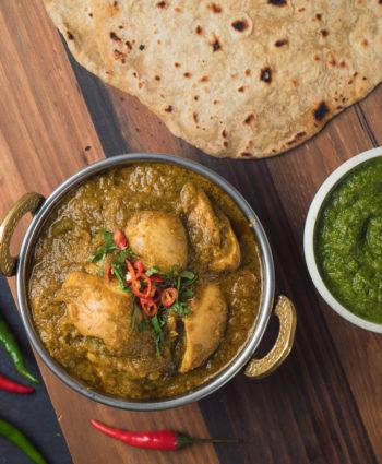 indian restaurant hariyali chicken curry