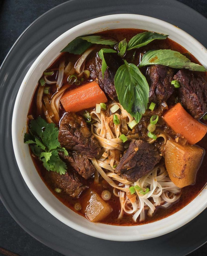 Vietnamese bo kho close-up from above.