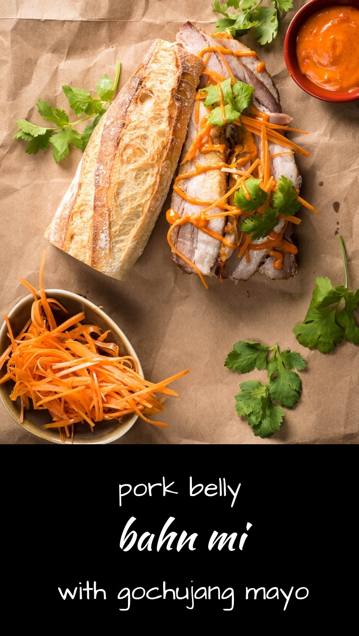 Pork belly and gochujang mayo make this Vietnamese banh mi a truly epic sandwich.