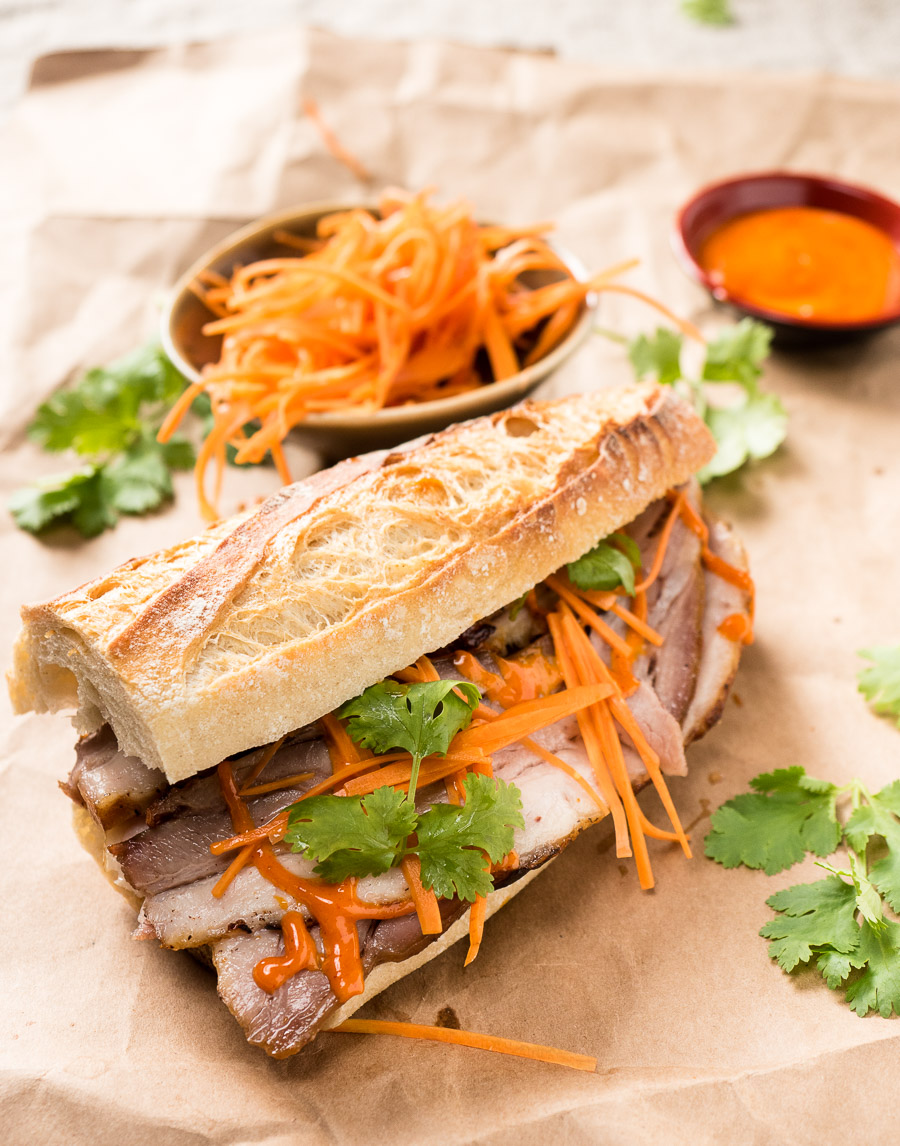 Pork belly banh mi with Gochujang mayo from the front