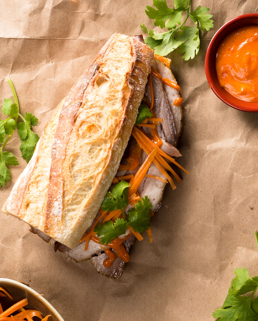 Pork belly banh mi with Gochujang mayo from above