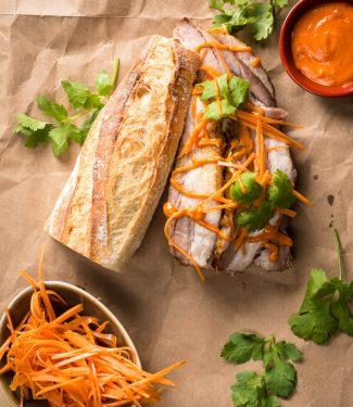 Pork belly banh mi with Gochujang mayo open faced