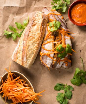 vietnamese banh mi with gochujang mayo