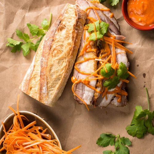 Pork belly banh mi with Gochujang mayo open faced