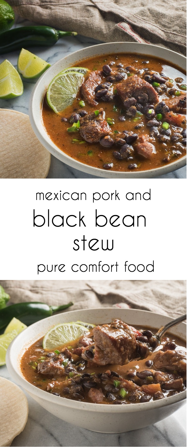 Mexican pork and black bean stew is a deeply satisfying crowd pleaser.