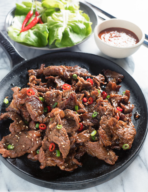 Easy Korean beef bulgogi on a black skillet