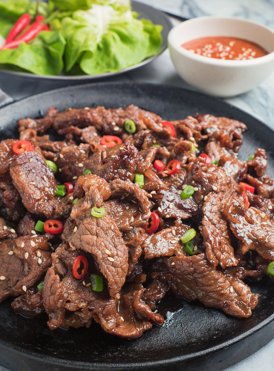 Easy Korean beef bulgogi on a black skillet