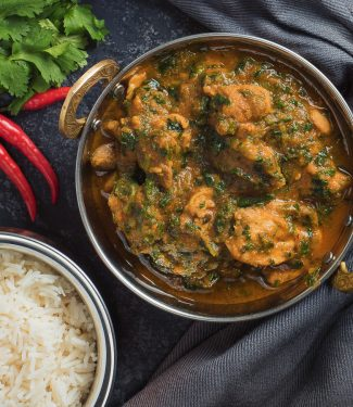 chicken saag curry from above