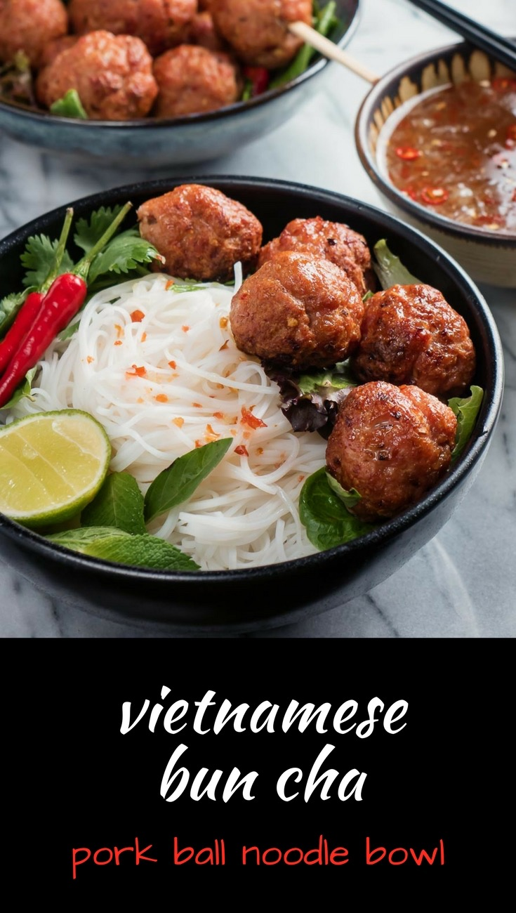 Vietnamese bun cha is a refreshing, healthy grilled pork noodle salad in a bowl.