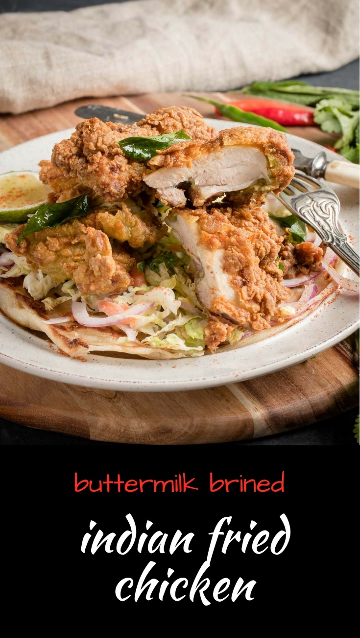 Buttermilk brined Kerala fried chicken is southern fried with big Indian flavours.