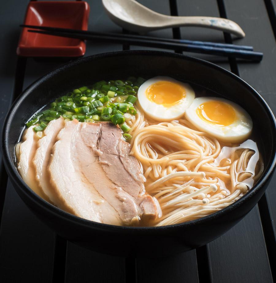 Miso ramen with chashu pork and medium boiled egg.