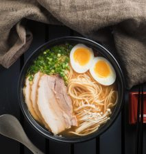 Miso ramen with chashu pork and medium boiled egg.