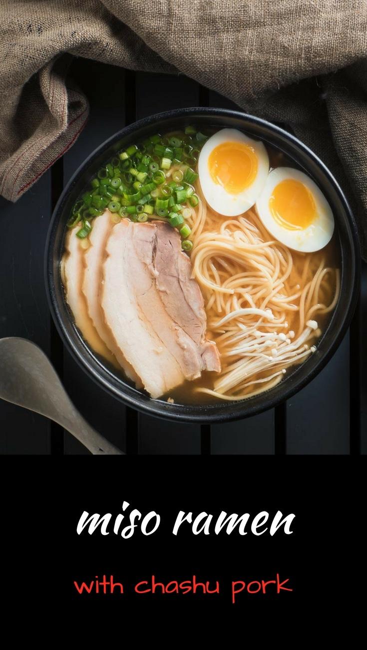 Japanese miso ramen with chashu pork. Easy but so close to tonkotsu ramen style.