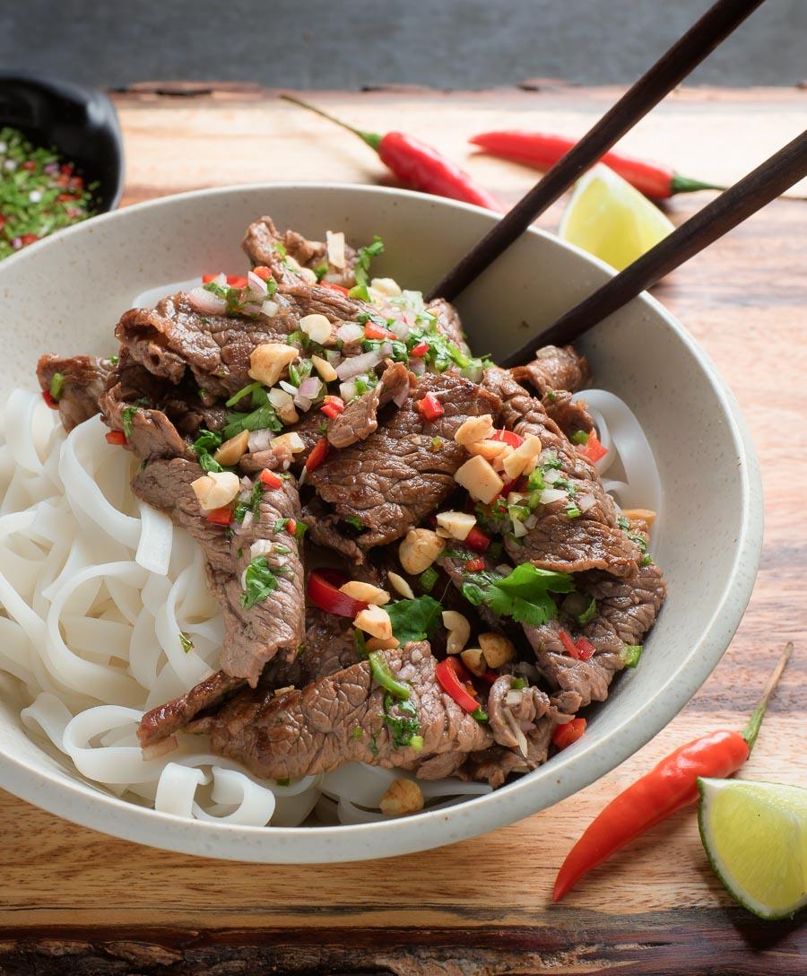 Thai beef stir fry with peanut and cilantro garnish