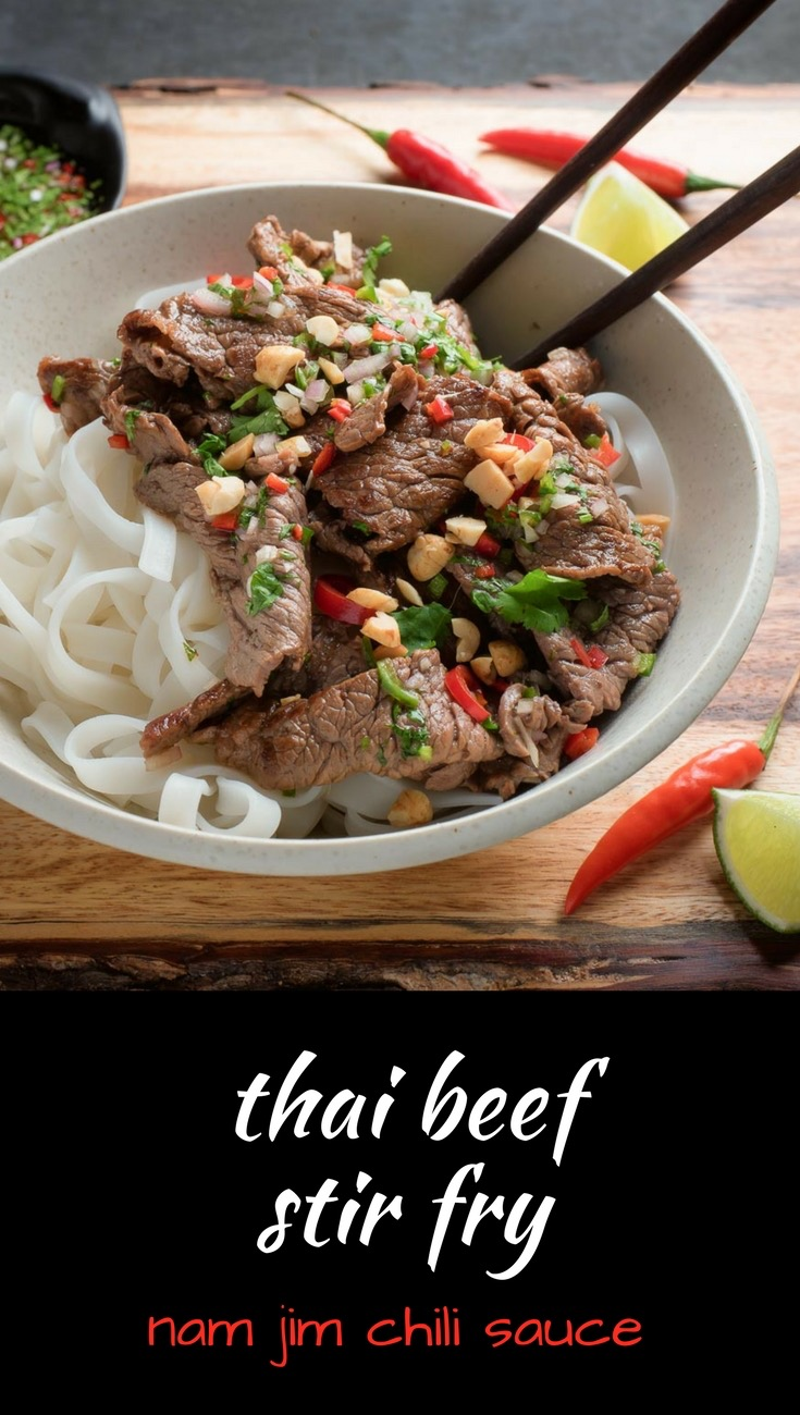 This Thai beef stir fry with nam jim dipping sauce is sure to be a crowd pleaser.