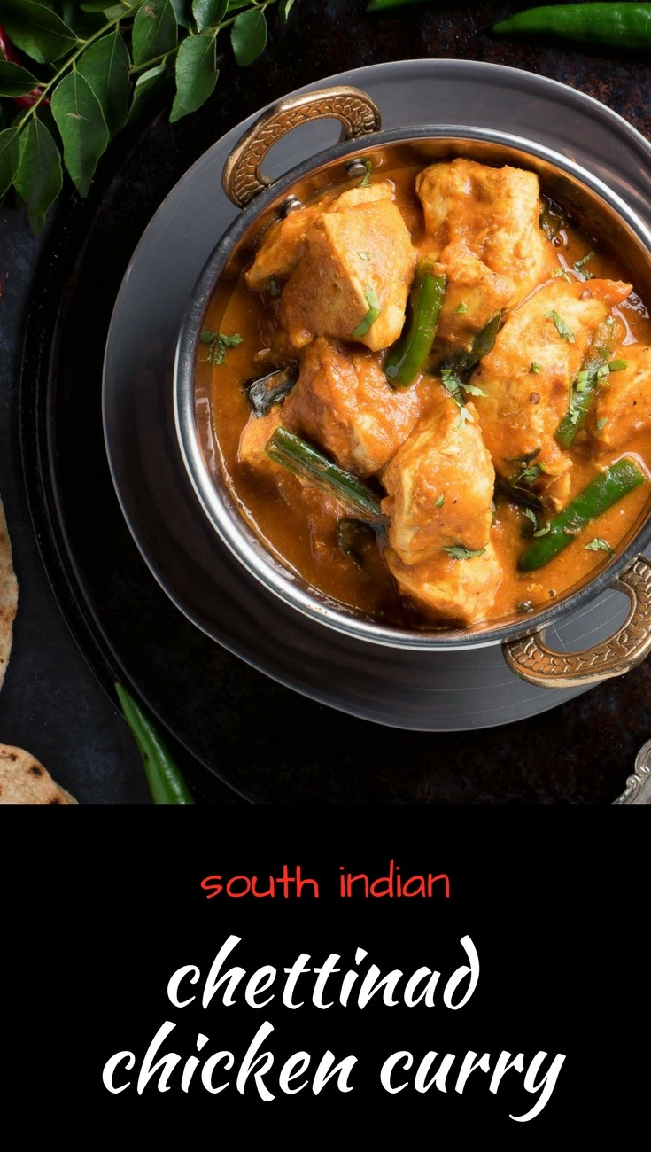 Restaurant style South Indian chettinad chicken curry is loaded with big coconut curry flavour.