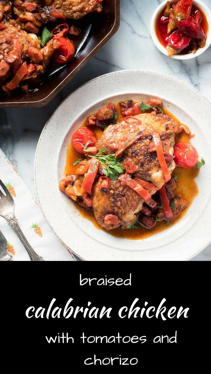 Calabrian chicken and chorizo. Braised chicken done right.