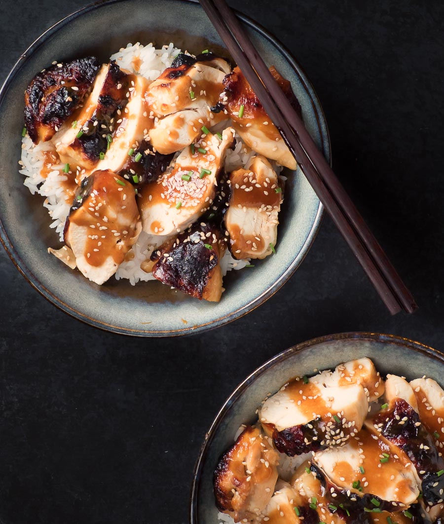 miso chicken with ginger and maple in a bowl from above.