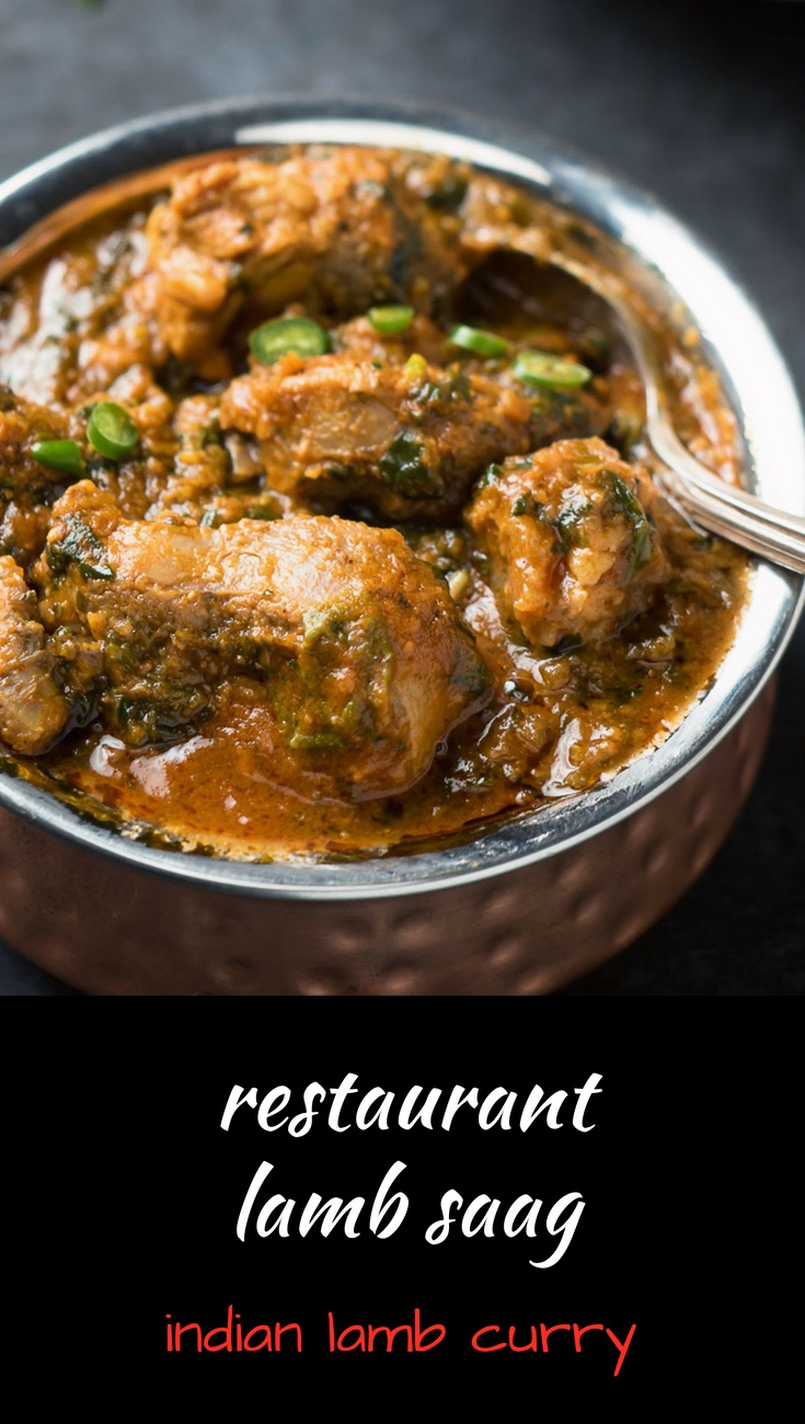 Indian restaurant lamb saag curry - Indian lamb and spinach curry