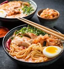 Korean ramen with chopsticks.