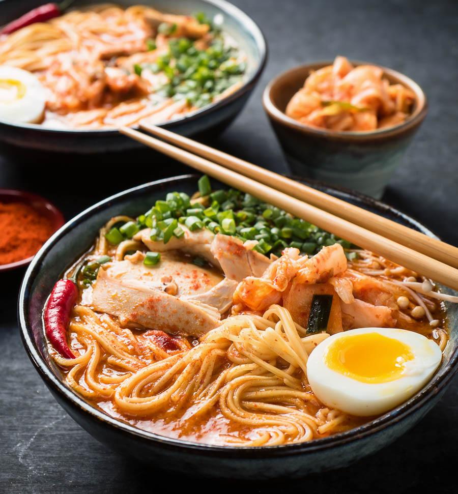 Korean ramen with chopsticks.