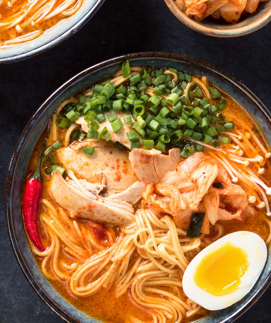 Korean ramen in a bowl from above.